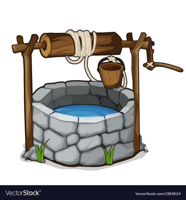 Brick With Blue Water And Wooden Bucket Vector