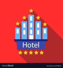 Hotel 5 Stars Icon Flat Style Royalty Free Vector