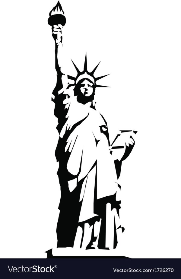 Black silhouette of the Statue of Liberty Vector Image