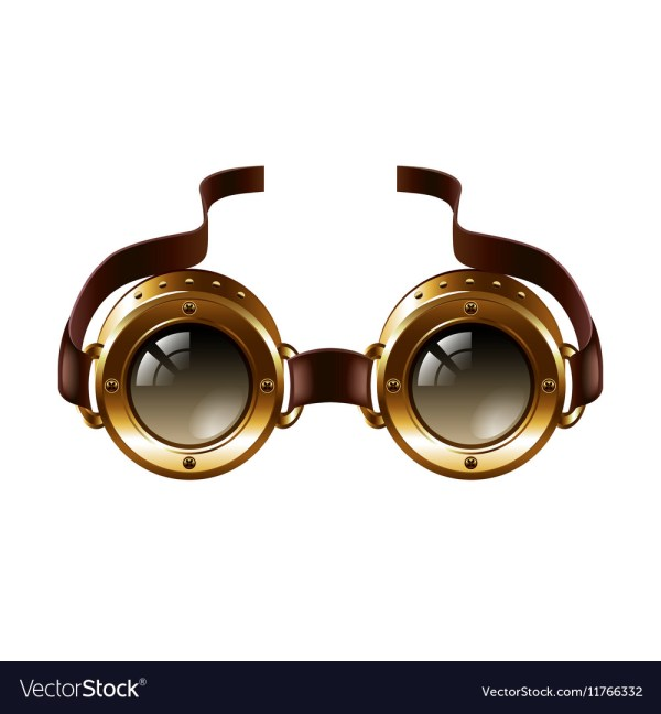 Steampunk Goggles Isolated White Royalty Free Vector