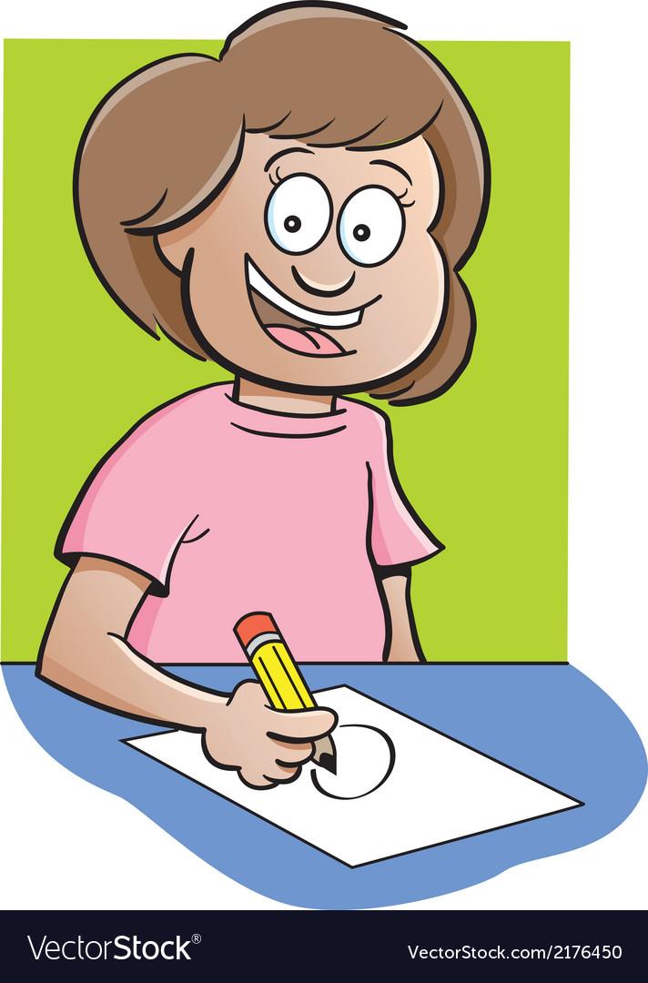 Cartoon Girl at Desk Drawing Royalty Free Vector Image