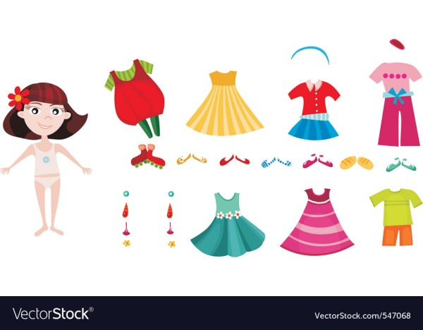 Girl Dress Up Clothes Royalty Free Vector Image
