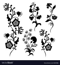 Black silhouette flowers Royalty Free Vector Image