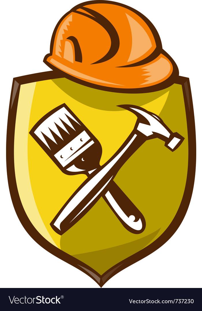Construction Shield Symbol Royalty Free Vector Image
