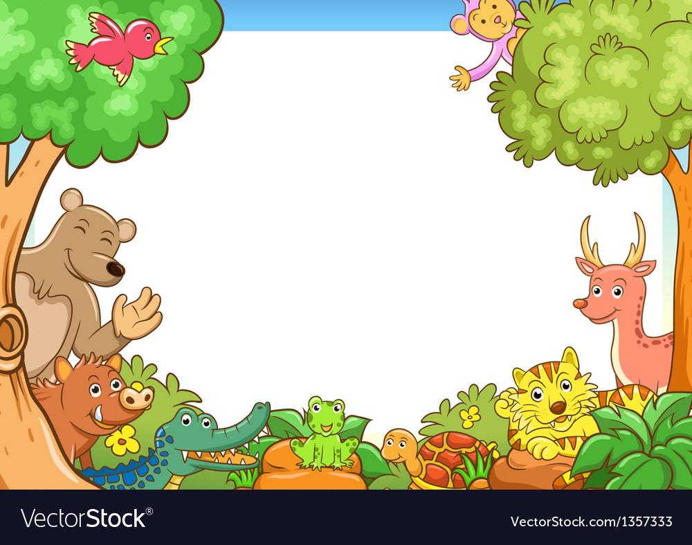 Tarzan Car Wallpaper Free Download Frame With Cute Animals Royalty Free Vector Image