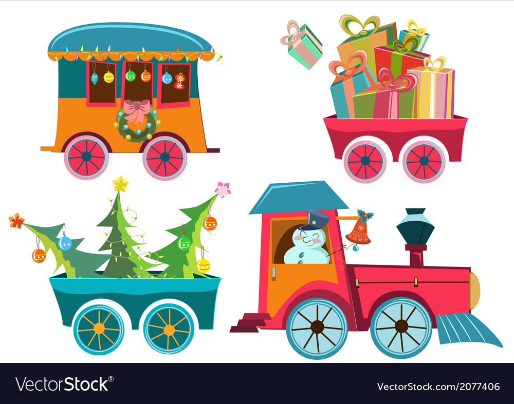 hight resolution of christmas train royalty free vector image