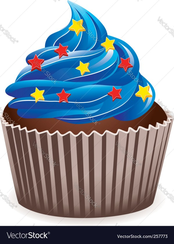blue cupcake royalty free vector