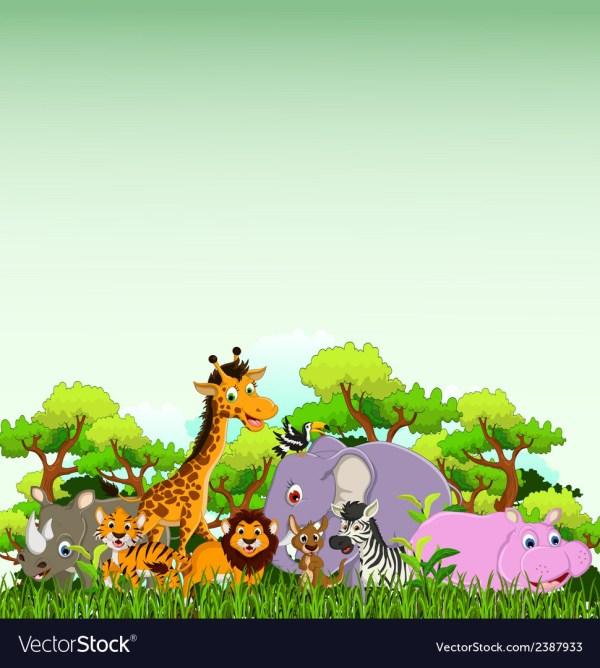 Tropical Jungle Background Vector Cartoon cartoon