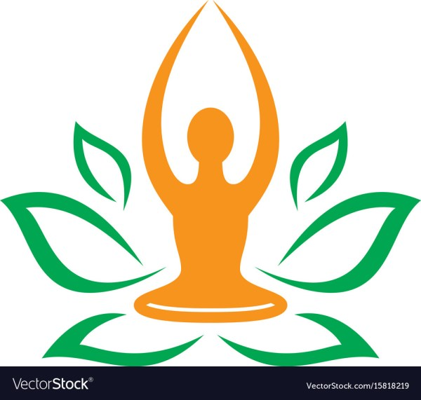 Leaf Nature Yoga Meditation Logo Royalty Free Vector