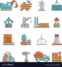 Industry Icons Set Cartoon Style Royalty Free Vector