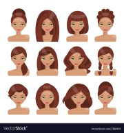 set of girls with hairstyles