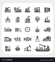 Industry Icons Set Royalty Free Vector - Vectorstock