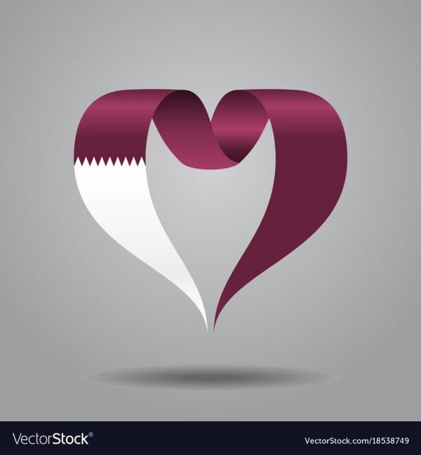 Qatari Flag Heart-shaped Ribbon Royalty Free Vector