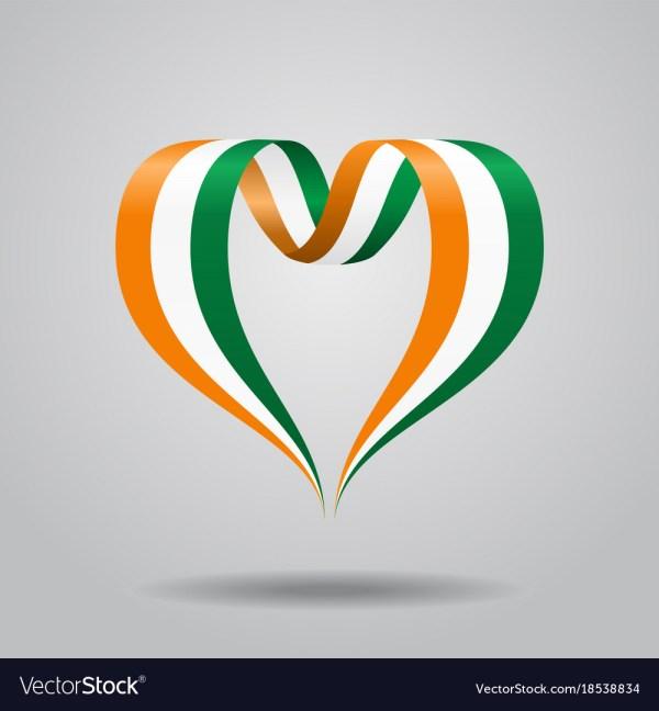 Ivorian Flag Heart-shaped Ribbon Royalty Free Vector