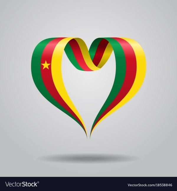 Cameroon Flag Heart-shaped Ribbon Royalty Free Vector