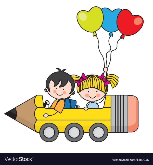 Kids Riding Pencil Car Royalty Free Vector