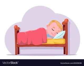 sleep cartoon bed rest boy dream vector cute vectorstock