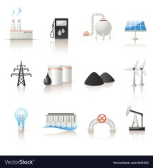 Power Industry Icon Set Royalty Free Vector