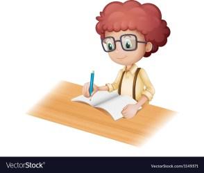 writing cartoon student vector royalty boy vectorstock