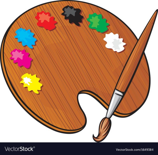 Wooden Art Palette With Paints And Paint Brush Royalty