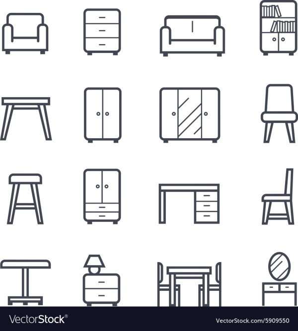 Furniture Icon Bold Stroke Royalty Free Vector