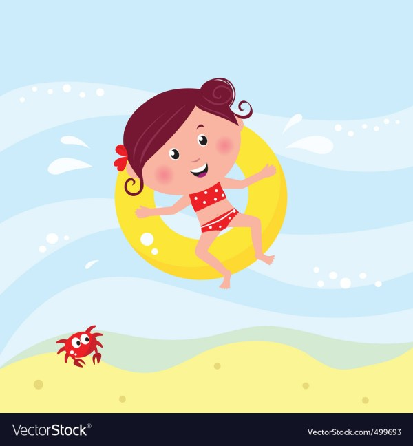 Cute Girl Swimming Royalty Free Vector - Vectorstock