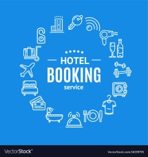 Hotel Booking Design Template Line Icon Vector