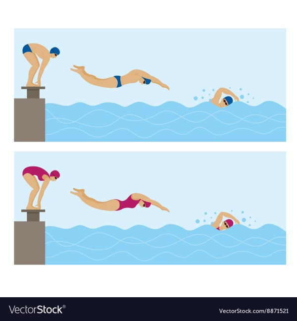 Sports Athletes Swimming Vector Muchmania