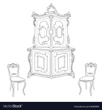 Antique cupboard and chairs vector by Tatiana54 - Image ...