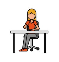 Woman sitting in office chair with smiling face Vector Image