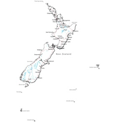 Outline map of New Zealand Royalty Free Vector Image