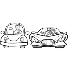Pickup car cartoon coloring page Royalty Free Vector Image