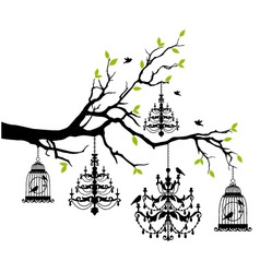 Vintage birdcage and chandelier Royalty Free Vector Image