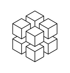 Grey geometric cube of 64 smaller isometric cubes Vector Image