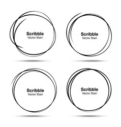 Set of 12 Hand Drawn Scribble Circles logo Vector Image