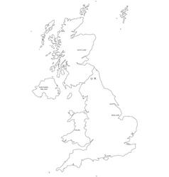 United Kingdom Black White Map Royalty Free Vector Image