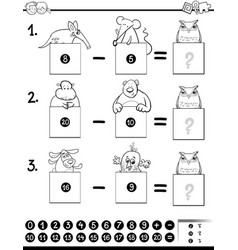 Counting bears coloring book activity Royalty Free Vector