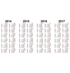 Calendar grid for 2014 2015 2016 2017 2018 Vector Image