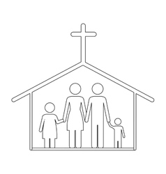 Family Circle Christian Community Cross Royalty Free Vector