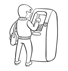 Woman using atm machine Royalty Free Vector Image