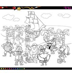 Desert island cartoon coloring page Royalty Free Vector