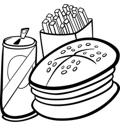 Sushi lunch cartoon coloring page Royalty Free Vector Image