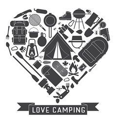 Download Camping Thin Line Icon Set of Adventure Elements Vector Image