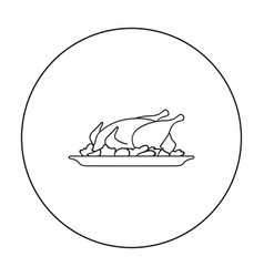 Roast chicken outline Royalty Free Vector Image