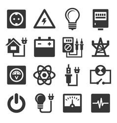 Power symbol line icon set Royalty Free Vector Image