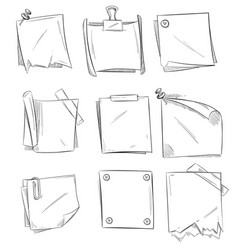 Set of hand drawn paper notes notepapers and Royalty Free