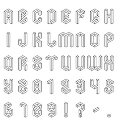 Isometric Alphabet and Numbers Royalty Free Vector Image