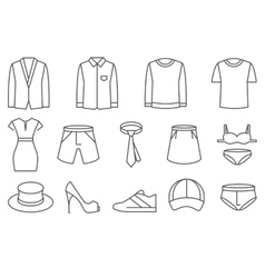 Clothing symbol set with bold outlines Royalty Free Vector