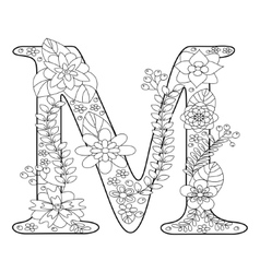 Letter M coloring book for adults Royalty Free Vector Image