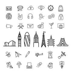Land survey symbols and equipment Royalty Free Vector Image
